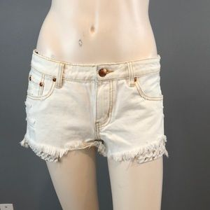 NWT C&C California White Denim Cutoff Shorts Sz 27